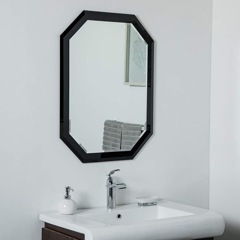 "Bella Black 23 1/2"" x 31 1/2"" Octagon Frameless Wall Mirror"