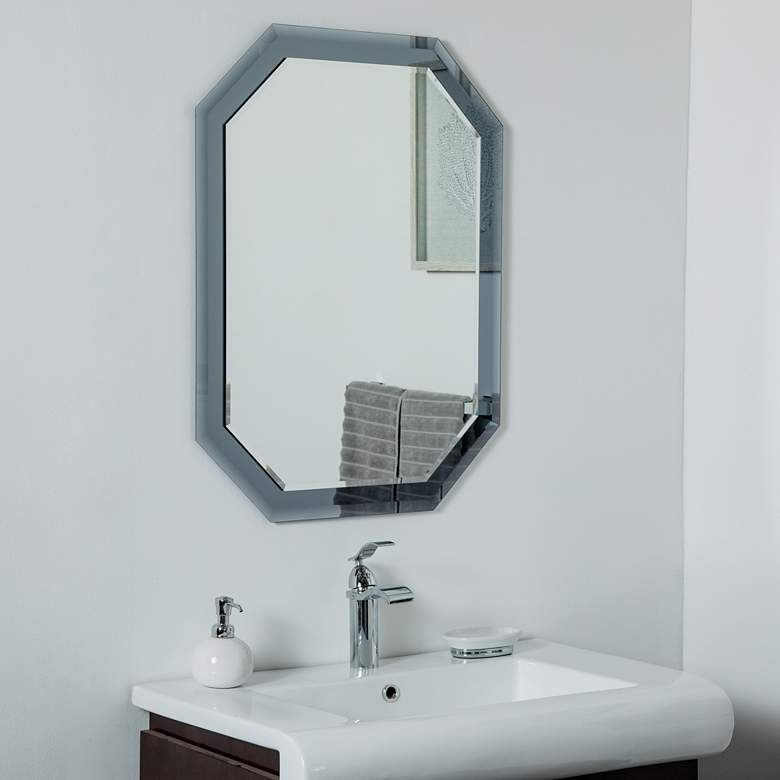 "Grella Gray 23 1/2"" x 31 1/2"" Octagon Frameless Wall Mirror"