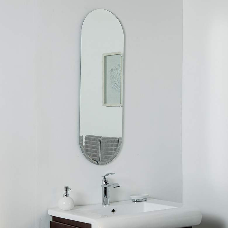 "Addy Long 13 3/4"" x 39 1/2"" Oval Frameless Wall Mirror"