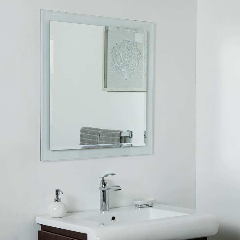 """Encore Clear Glass 30"""" Square Frameless Wall Mirror"""