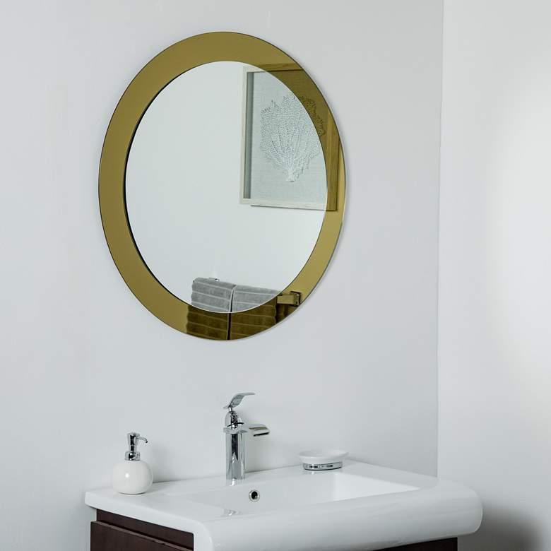 Golden Sol 30 Round Frameless Wall Mirror