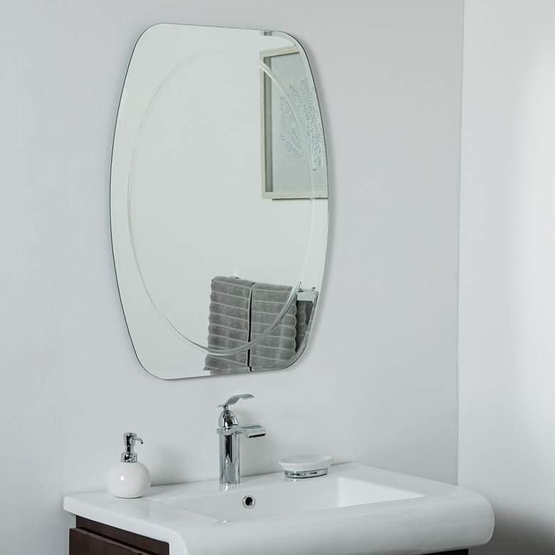"Remiform 23 1/2"" x 31 1/2"" Oval Frameless Wall Mirror"
