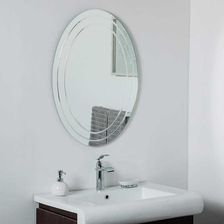 "Tate 23 1/2"" x 31 1/2"" Oval Frameless Wall Mirror"