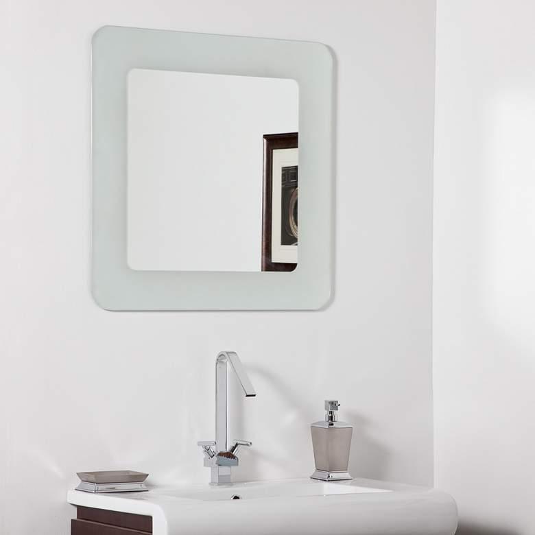 "Bella Sandblasted 27 1/2"" Square Bathroom Wall Mirror"