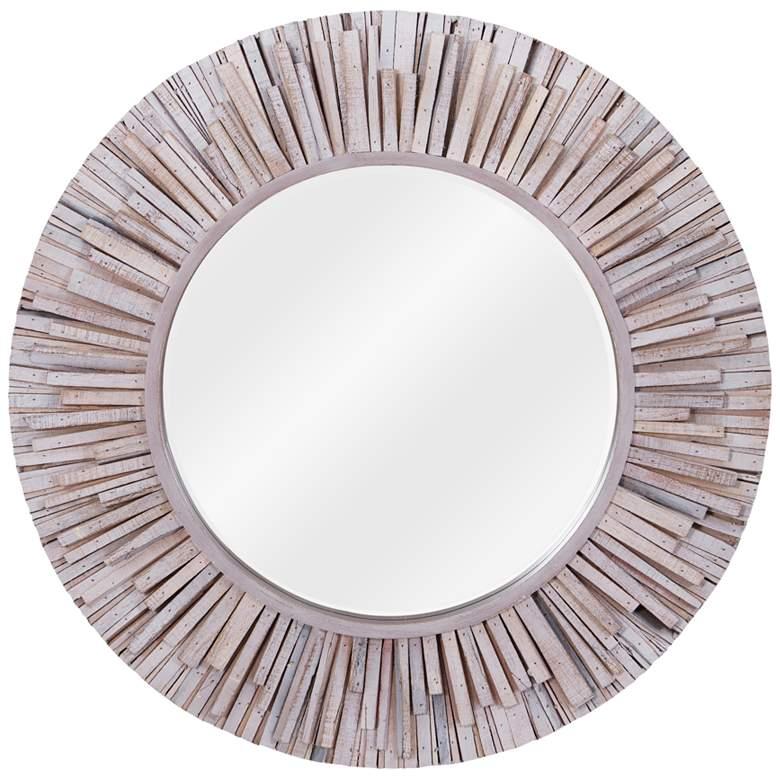 "Varaluz Casa Nellie Coastal Wash Wood 30"" Round Wall Mirror"
