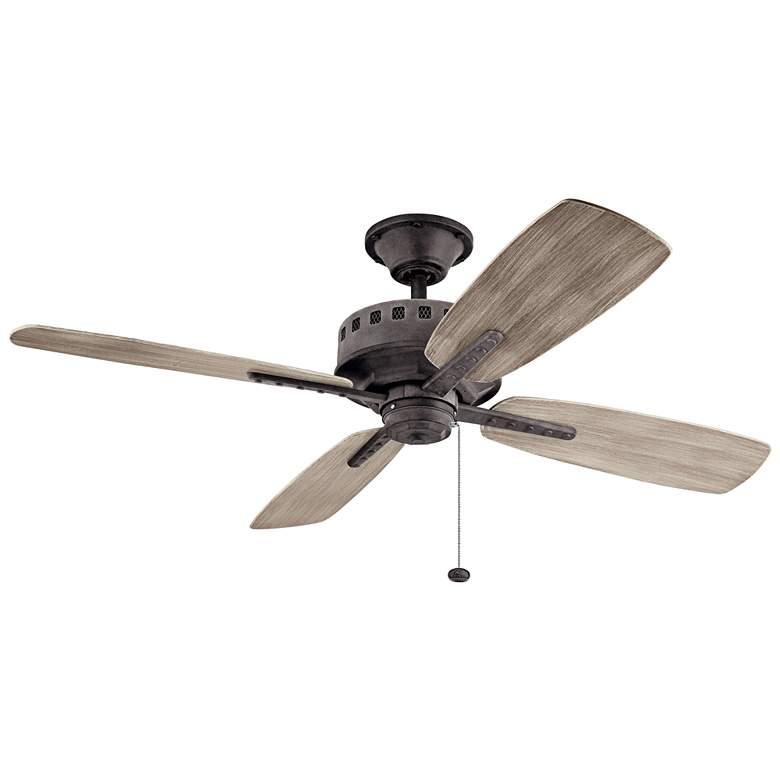"52"" Kichler Eads Patio Weathered Zinc Outdoor Ceiling Fan"