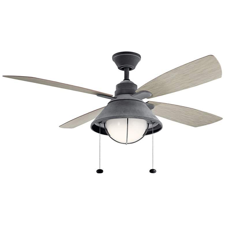 """54"""" Kichler Seaside Weathered Zinc LED Outdoor Ceiling Fan"""