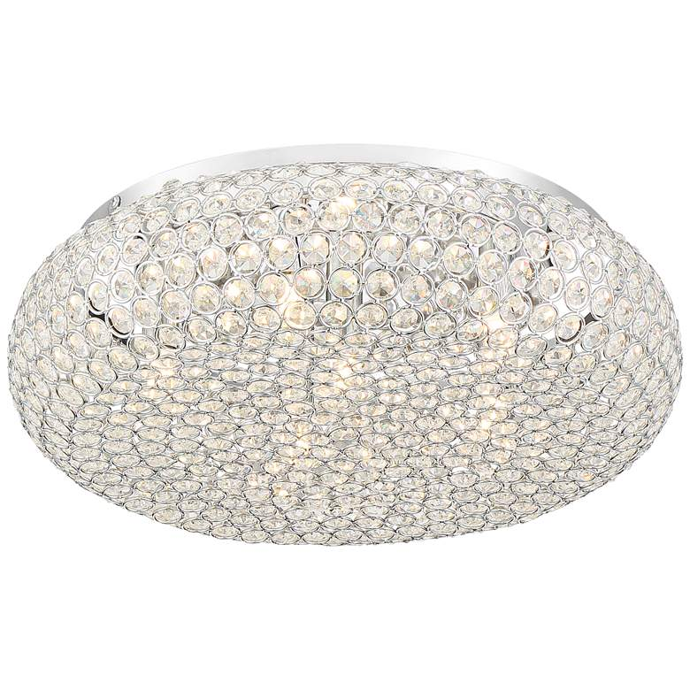 "Morden 15 1/2""W Round Crystal and Chrome Ceiling Light"
