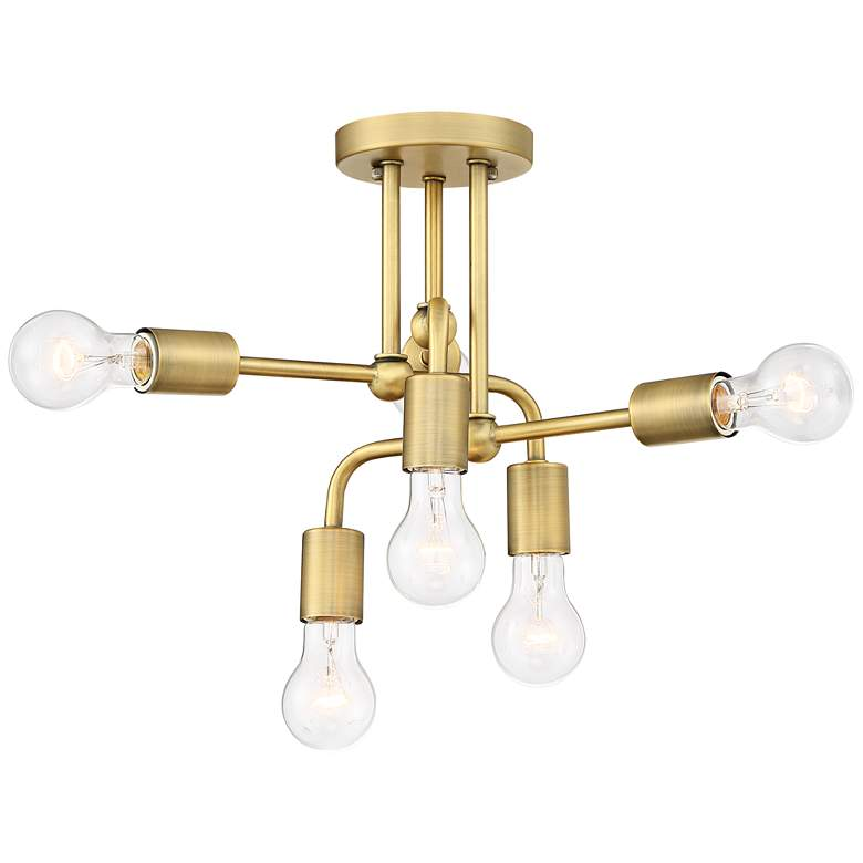 "Possini Euro Kerman 13""W Six-Light Brass Ceiling Light"