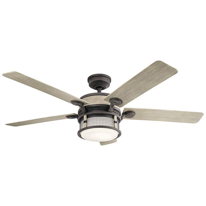 "60"" Kichler Ahrendale Weathered Zinc LED Outdoor Ceiling Fan"