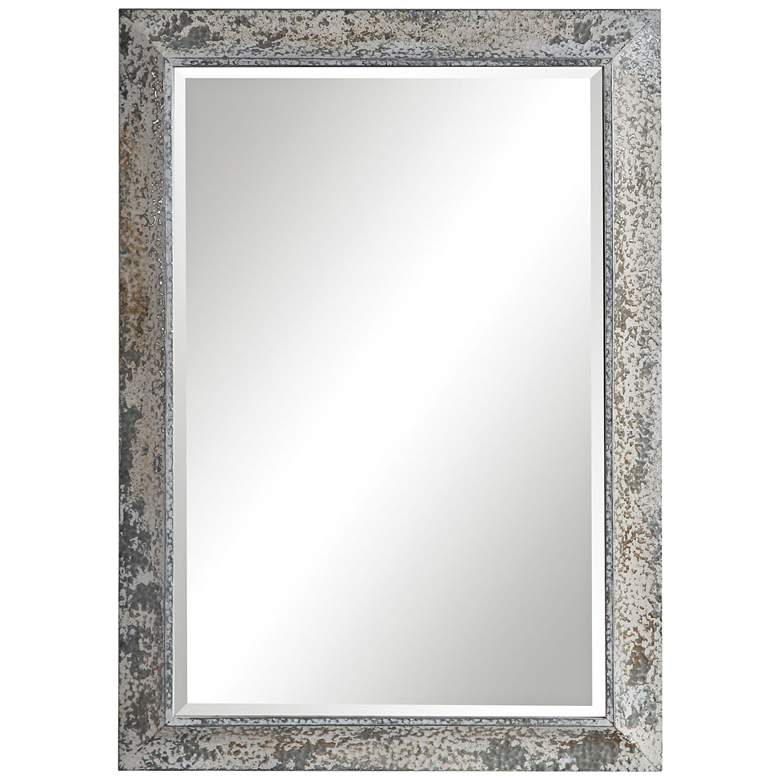 "Uttermost Raffi Aged Silver and Ivory 30"" x 42"" Wall Mirror"