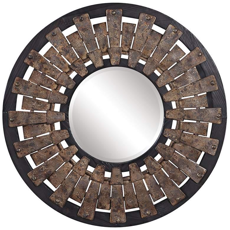 """Uttermost Hyman Dark Stained Wood 31 3/4"""" Round Wall Mirror"""