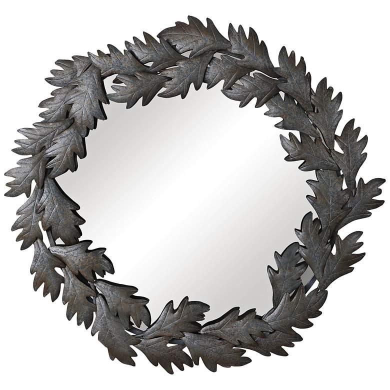 "Uttermost Zandra Dark Gray Blue 43 1/4"" Round Wall Mirror"