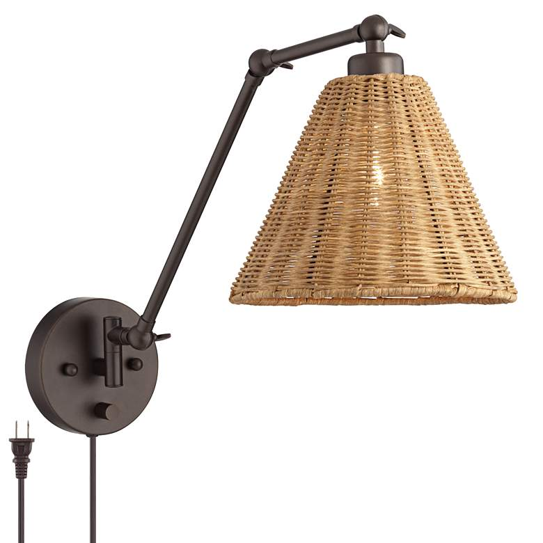 Rowlett Bronze Rattan Shade Plug-In Wall Lamp