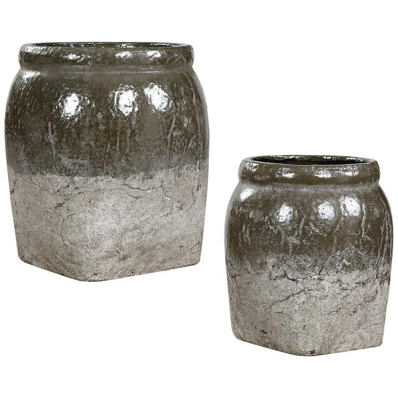 Uttermost Rocia Stone Metallic Gray Ceramic Bowls Set of 2