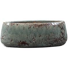 """Tenzin 15 1/2"""" Wide Aqua Blue Modern Ceramic Decorative Bowl"""