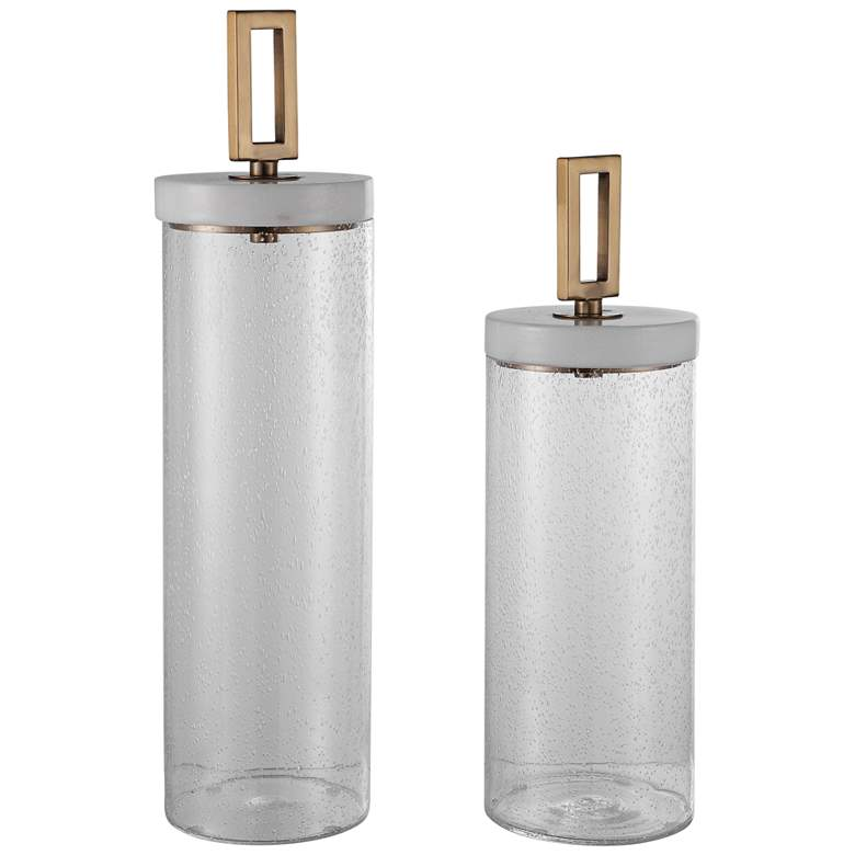 Uttermost Hayworth Clear Seeded Glass Containers Set of 2