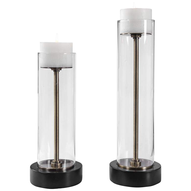 Charvi Clear Glass Hurricane Candle Holders Set of 2