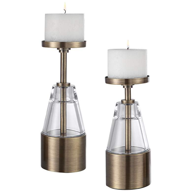 Theirry Antique Brass Pillar Candle Holders Set of 2