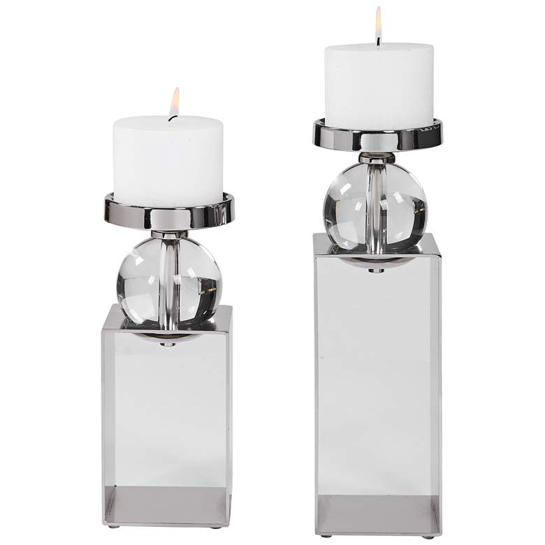 Lucian Polished Nickel Pillar Candle Holders Set of 2
