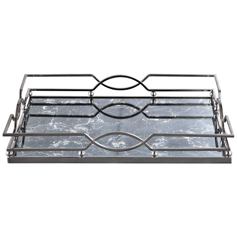 "Eugenie 21"" Wide Polished Nickel Antique Mirrored Tray"