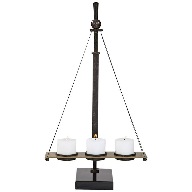 "Breckenridge 29 1/4"" High Black Brass Pillar Candle Holder"