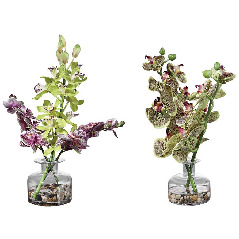 Malin Green and Purple Orchid Faux Flowers in Vases Set of 2