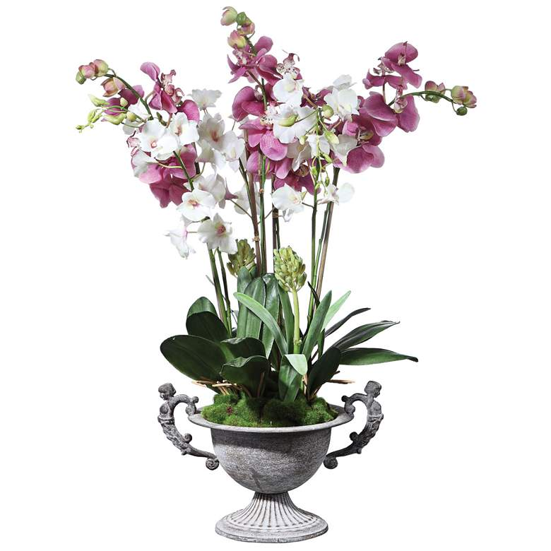 "Nydia Mauve Pink and Cream Orchid 28""H Faux Flowers in Urn"