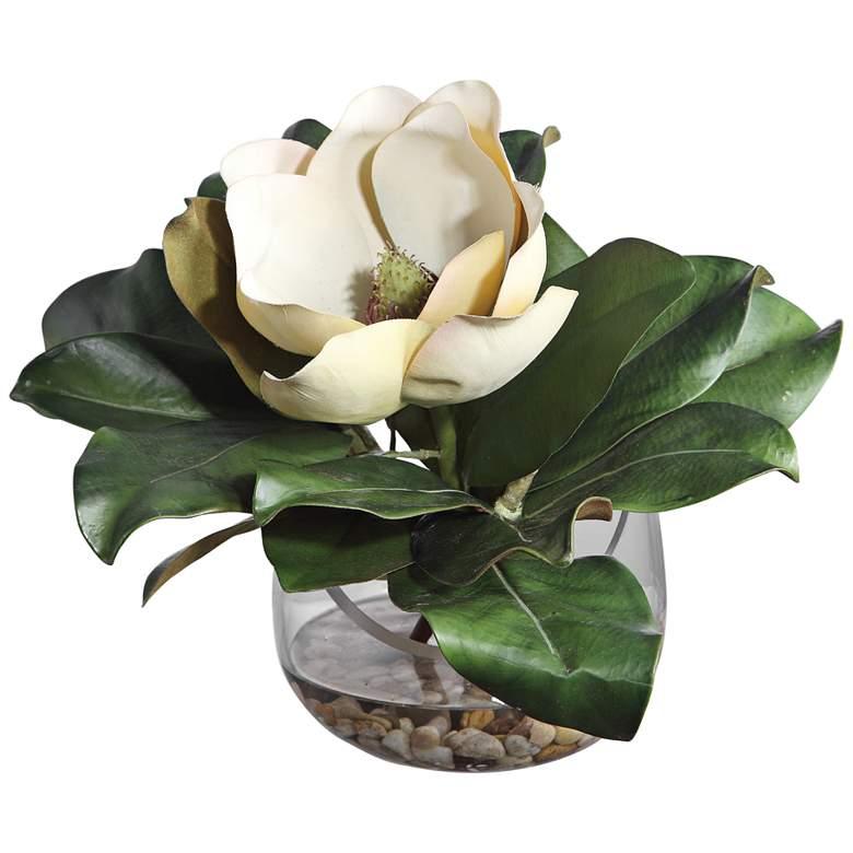 "Celia White and Green Silk Magnolia 13""W Faux Flower in Vase"