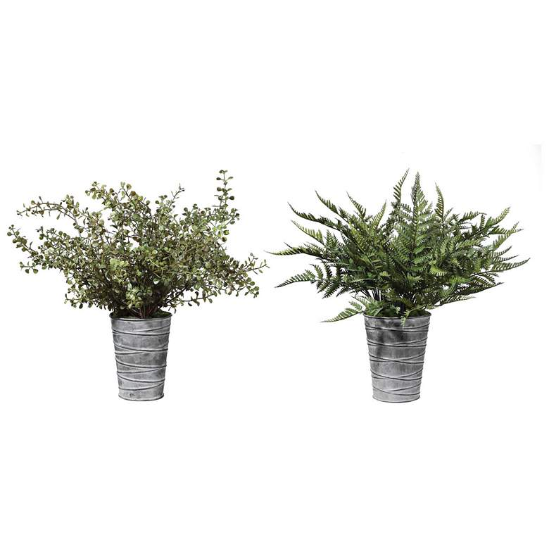 Quimby Green Fern Faux Plants in Gray Metal Pots Set of 2