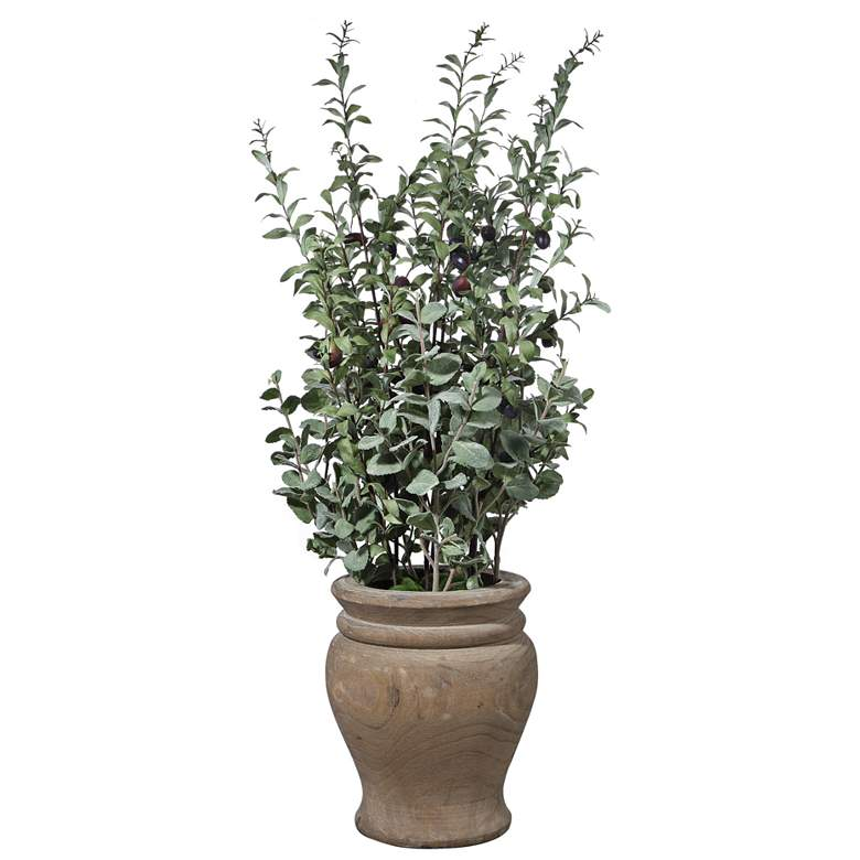 """Tassos Green Olive 36"""" High Faux Branches in Wooden Vase"""