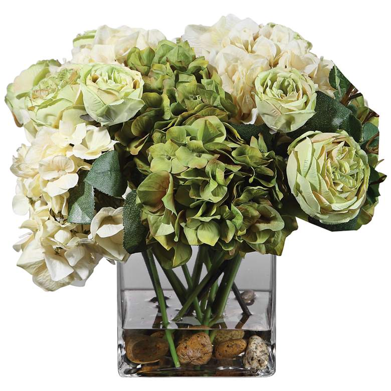 "Cecily Cream Hydrangea and Rose 15""W Faux Flowers in Vase"
