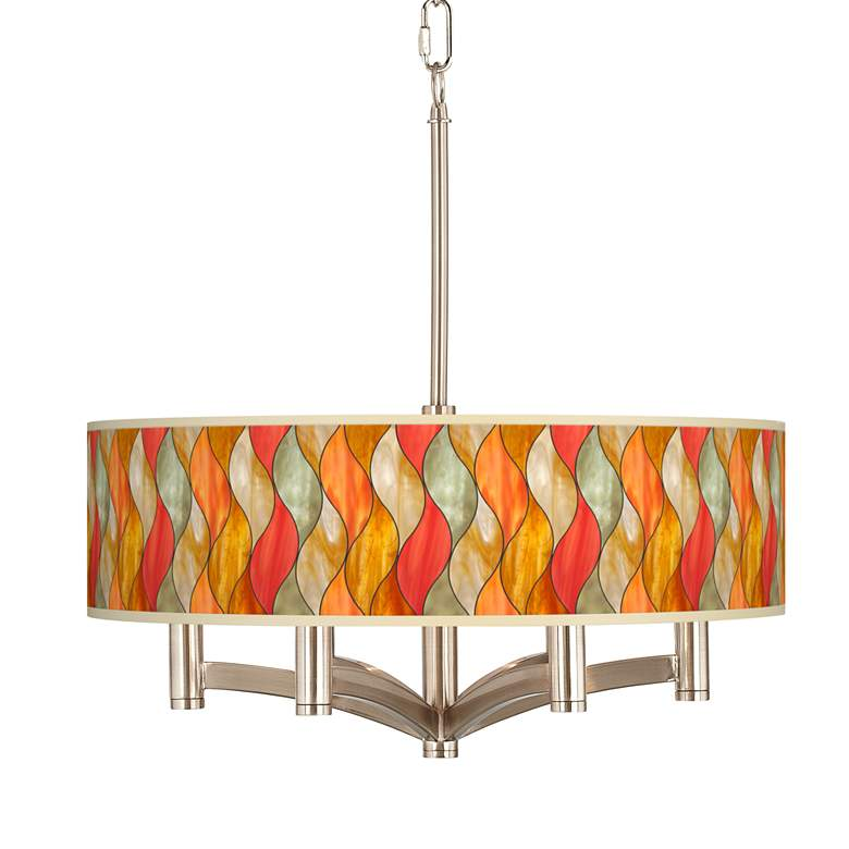 Flame Mosaic Ava 6-Light Nickel Pendant Chandelier