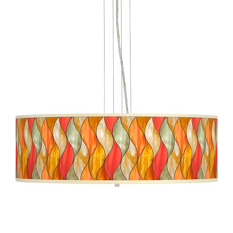 """Flame Mosaic Giclee 24"""" Wide 4-Light Pendant Chandelier"""