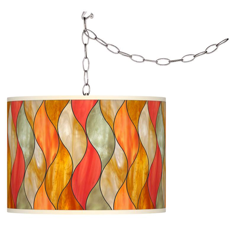 Swag Style Flame Mosaic Giclee Shade Plug-In Chandelier