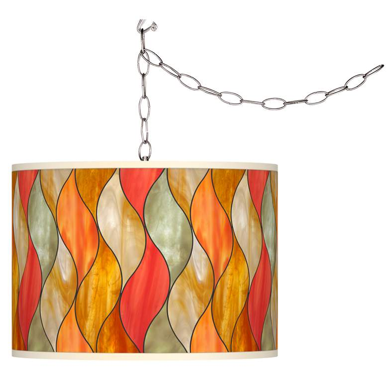 Flame Mosaic Giclee Glow Plug-In Swag Pendant