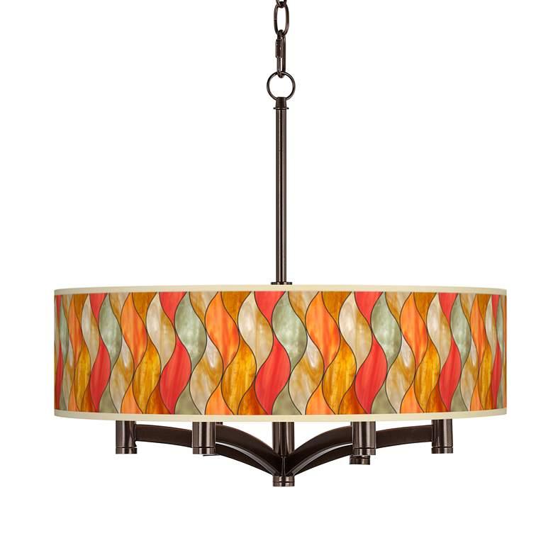 Flame Mosaic Ava 6-Light Bronze Pendant Chandelier
