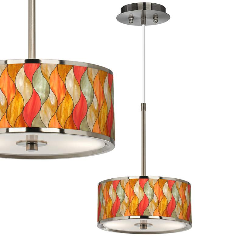 "Flame Mosaic Giclee Glow 10 1/4"" Wide Pendant"