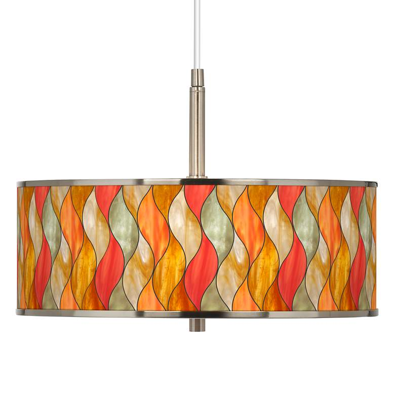 "Flame Mosaic Giclee Glow 16"" Wide Pendant Light"