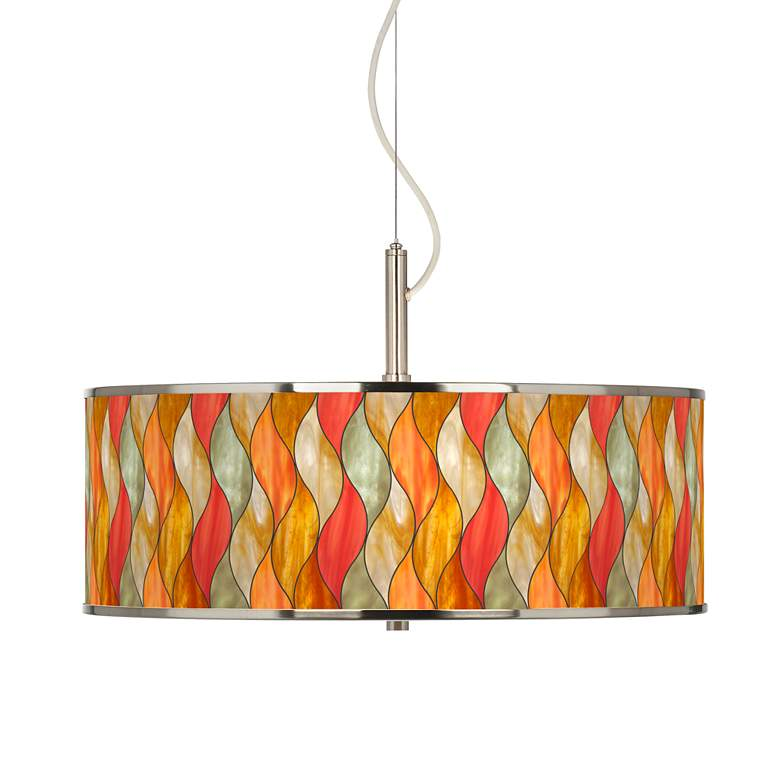 "Flame Mosaic Giclee Glow 20"" Wide Pendant Light"
