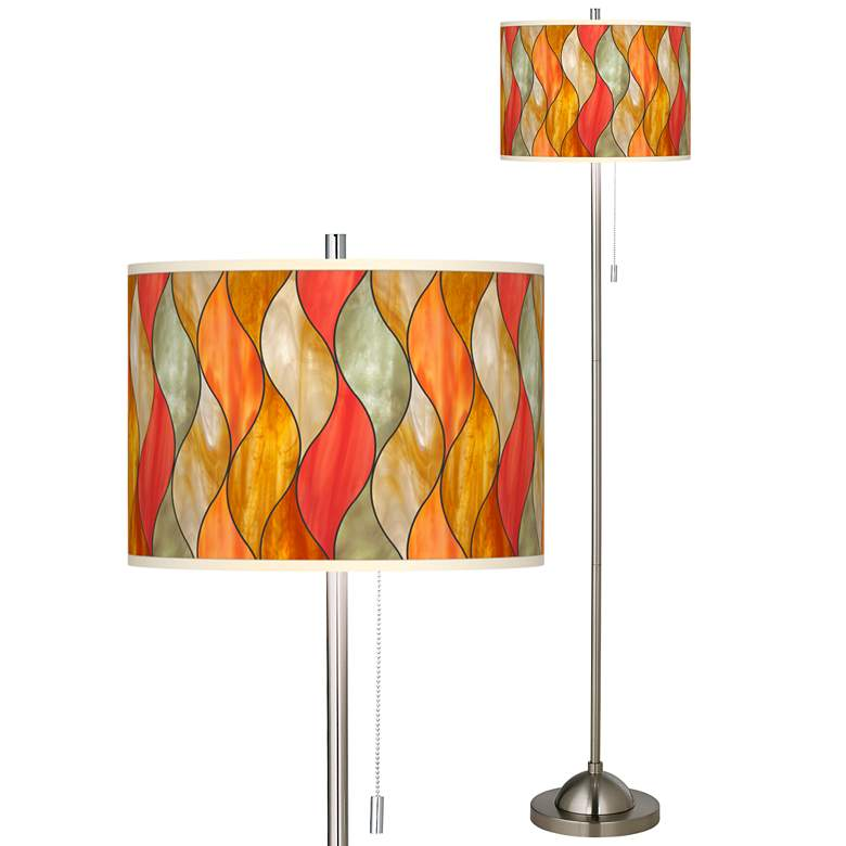 Flame Mosaic Brushed Nickel Pull Chain Floor Lamp