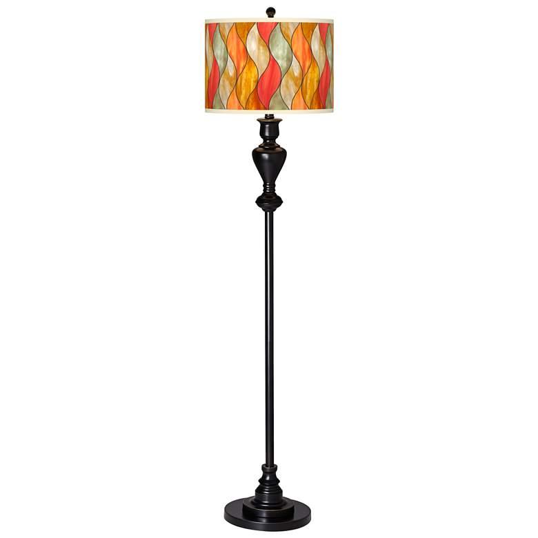 Flame Mosaic Giclee Glow Black Bronze Floor Lamp