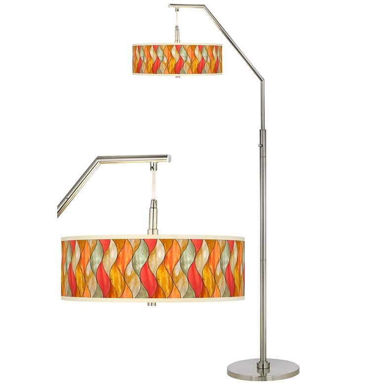 Flame Mosaic Giclee Shade Arc Floor Lamp