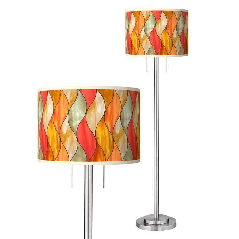 Flame Mosaic Giclee Brushed Nickel Garth Floor Lamp