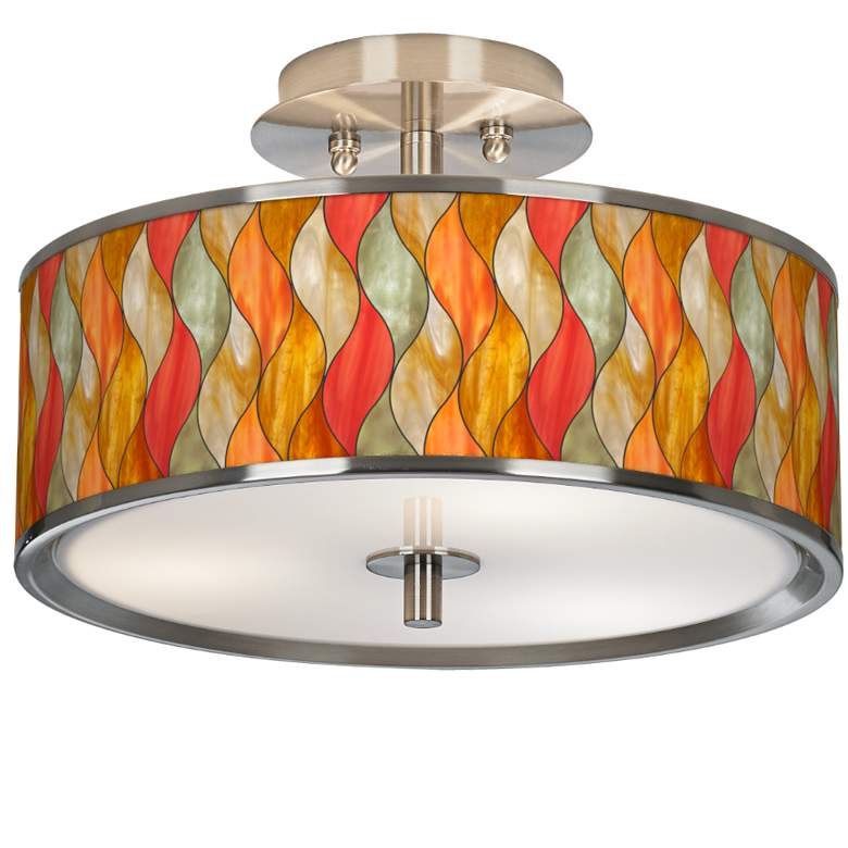 """Flame Mosaic Giclee Glow 14"""" Wide Ceiling Light"""