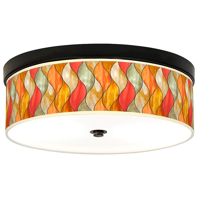 Flame Mosaic Giclee Energy Efficient Bronze Ceiling Light