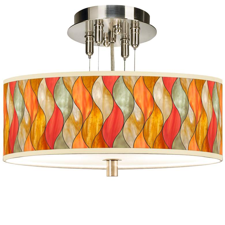 "Flame Mosaic Giclee 14"" Wide Ceiling Light"