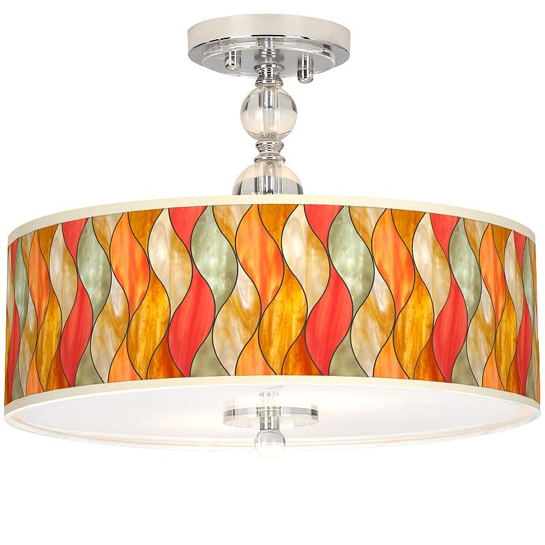 "Flame Mosaic Giclee 16"" Wide Semi-Flush Ceiling Light"