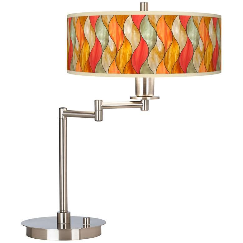Flame Mosaic Giclee CFL Swing Arm Desk Lamp