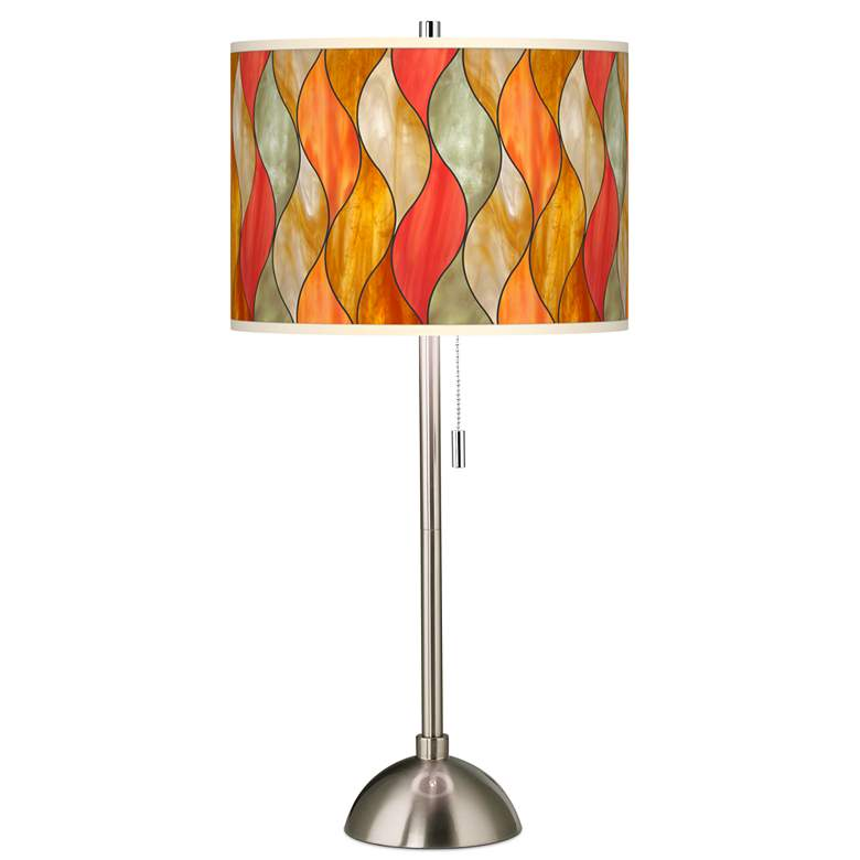 Flame Mosaic Giclee Brushed Nickel Table Lamp